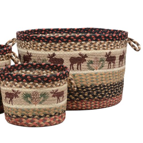 Moose & Pinecone Braided Utility Basket - Large