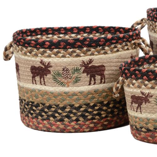 Moose & Pinecone Braided Utility Basket - Medium