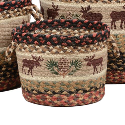 Moose & Pinecone Braided Utility Basket - Small