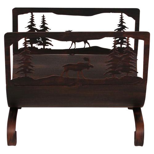 Moose Scene Wood Holder