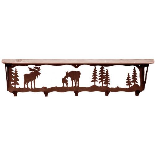 Moose Family Coat Rack with Shelf - 34 Inch