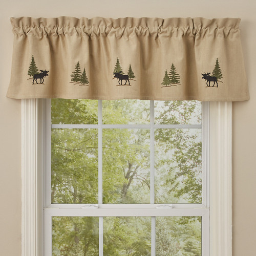 Moose Forest Lined Embroidered Valance