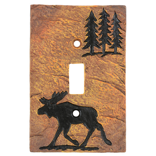 Moose Forest Stone Single Switch Cover