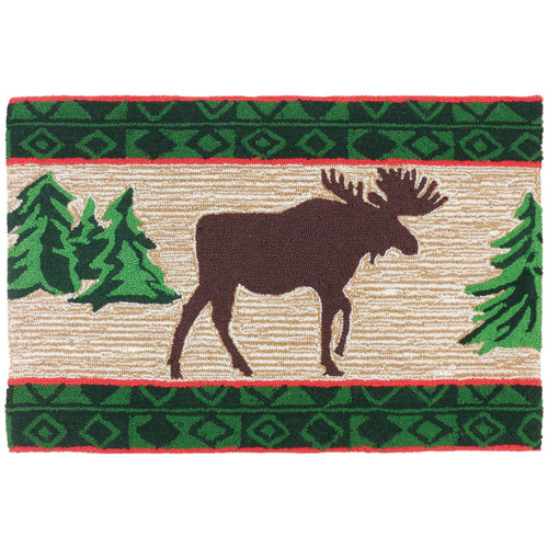 Moose in Pine Forest Accent Rug
