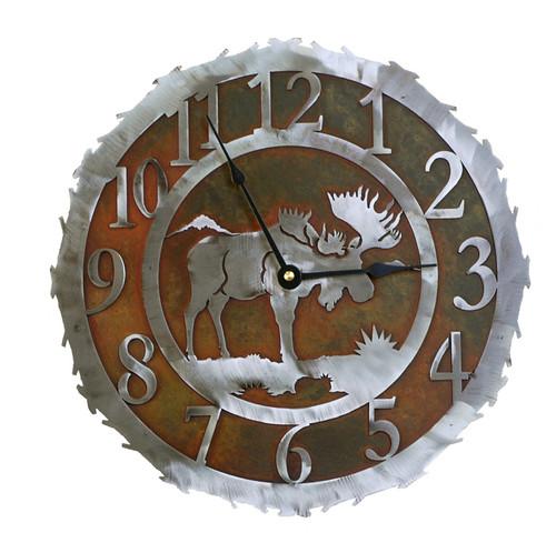Moose Metal Art Clock - 12 Inch