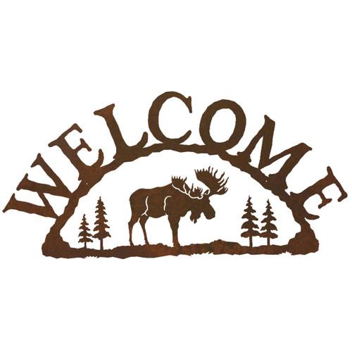 Moose Metal Art Welcome Sign