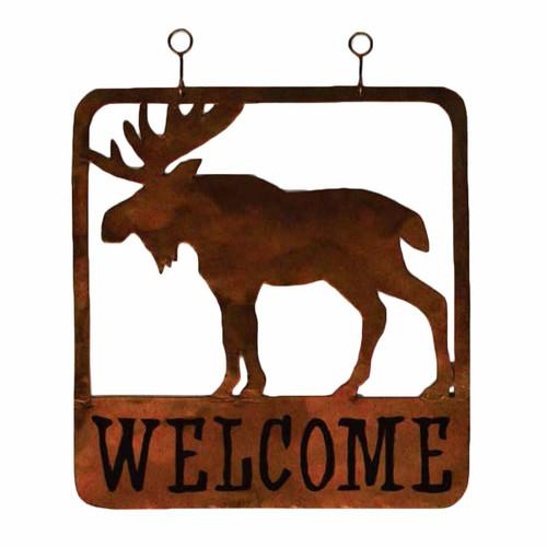 Moose Metal Welcome Sign