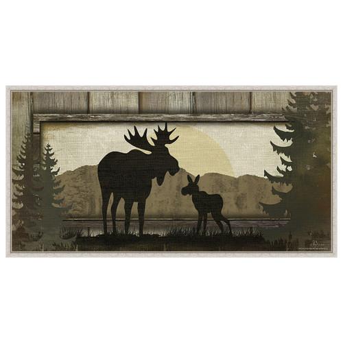 Moose White Framed Canvas