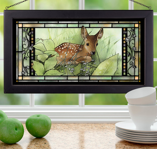 Mosaic Fawn Stained Glass Wall Art