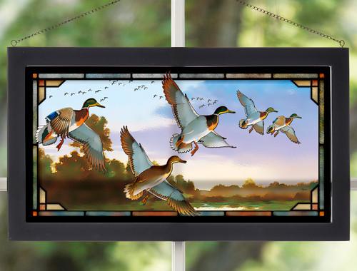 Mosaic Mallard Stained Glass Wall Art