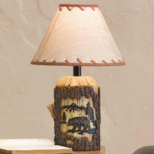 Mountain Bear Bark Table Lamp