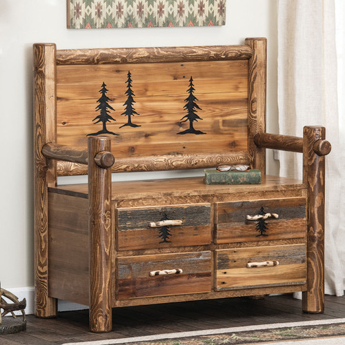 Mountain Pines Barnwood Bench with Drawers