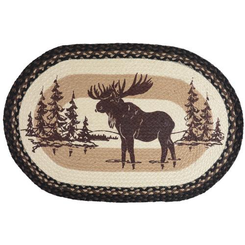 Mountain Stream Moose Braided Jute Rug