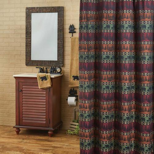 Mountain View Bear Shower Curtain