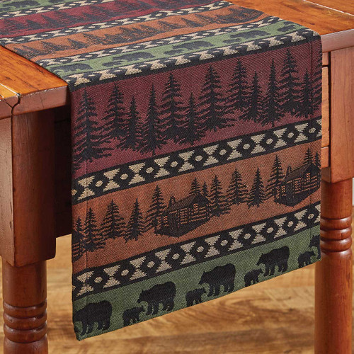 Mountain View Bear Table Runner - 54 Inch