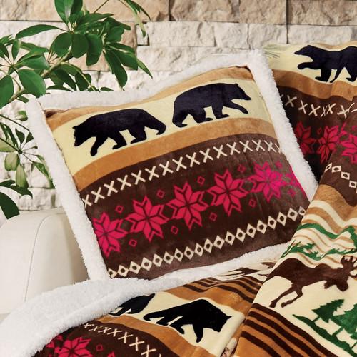 Mountain Wildlife Plush Pillow