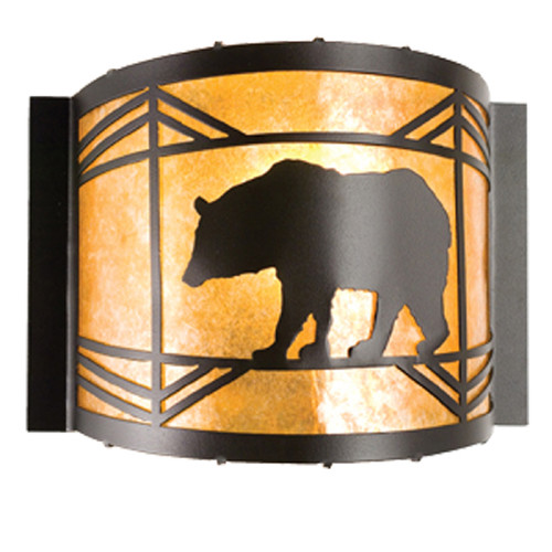 Black Bear at Sunset Curved Wall Sconce