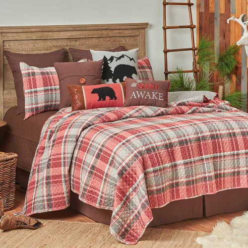 Terracotta Plaid Quilt Bedding Collection