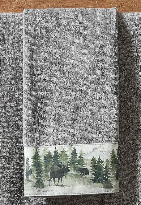 Mystic Forest Moose & Bear Fingertip Towel