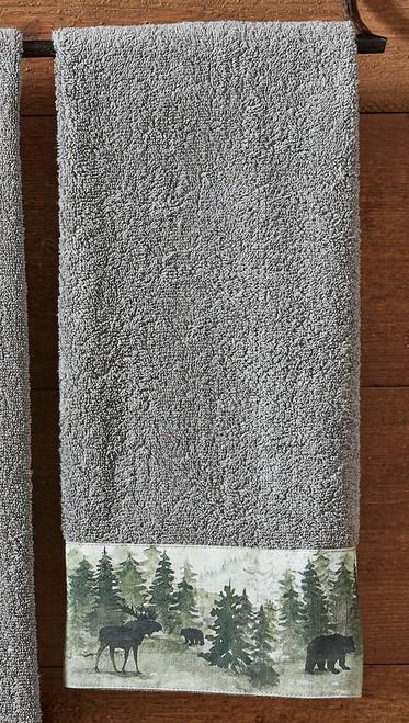 Mystic Forest Moose & Bear Hand Towel