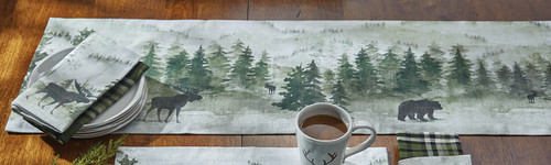 Mystic Forest Moose & Bear Table Runner - 54 Inch