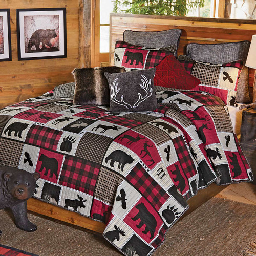 Rustic Bedding: Wildlife Icons Lodge Plaid Quilt Bedding Collection