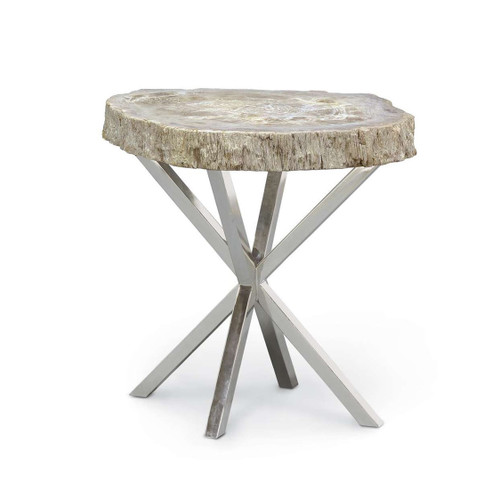 Natural Artistry Side Table with Stainless Steel Base