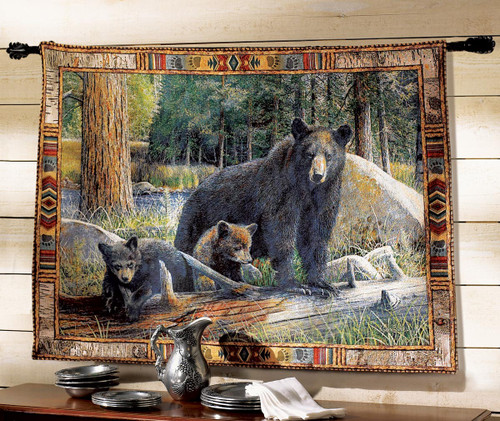 Black Bear Tapestry Wall Hanging