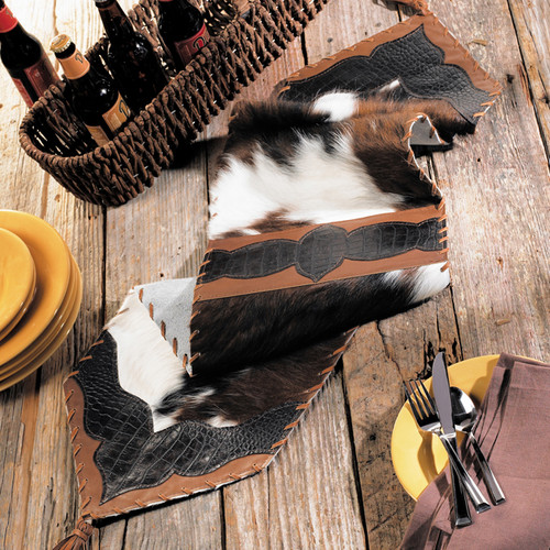 Cowhide & Croc Leather Table Runner
