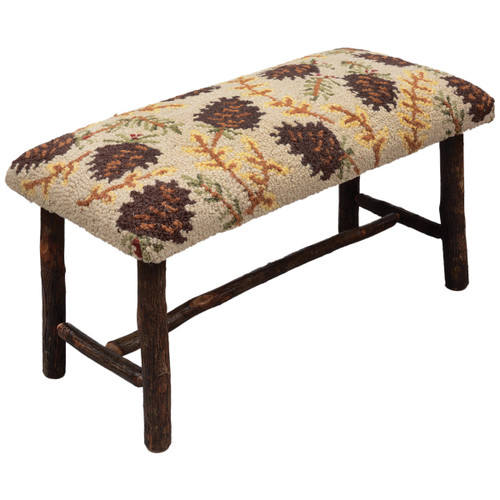 Northwoods Pinecones Hickory Bench - Small