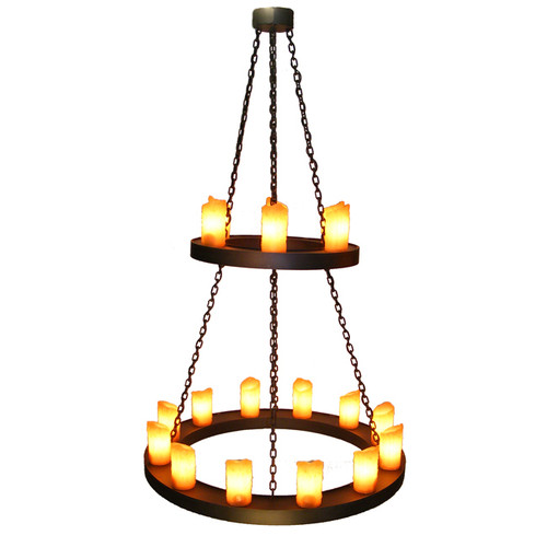Old Iron Two Tier Candle Chandelier