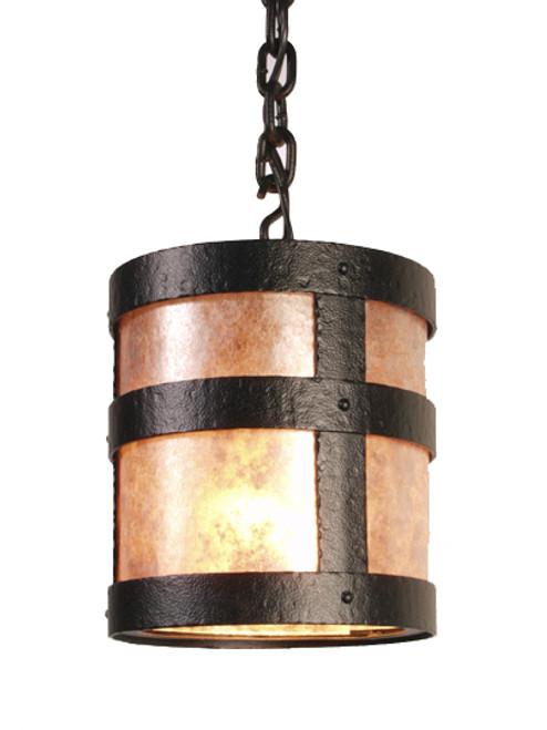 Open Portland Pendant Light With Mica Shade- Black