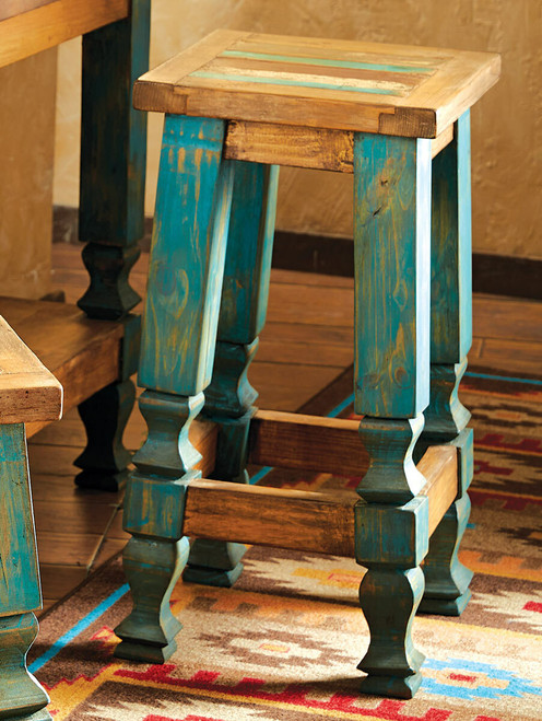 Old Wood Turquoise Barstool - 30 Inch