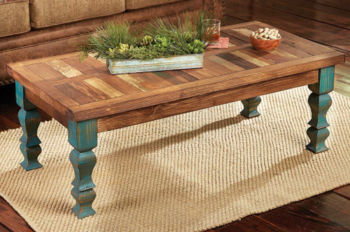 Old Wood Turquoise Coffee Table
