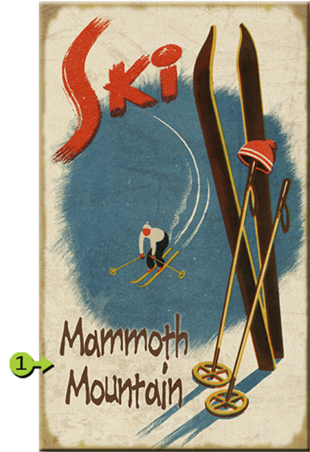 Skis in Snow Personalized Signs