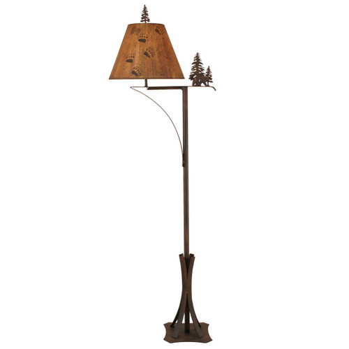 Oxidated Iron Bear and Evergreen Forest Floor Lamp