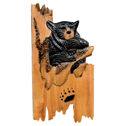 Pawprint Bear Carved Wood Wall Art - OVERSTOCK