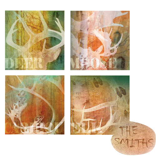 Personalized North American Antlers Wall Art (Set of 4)