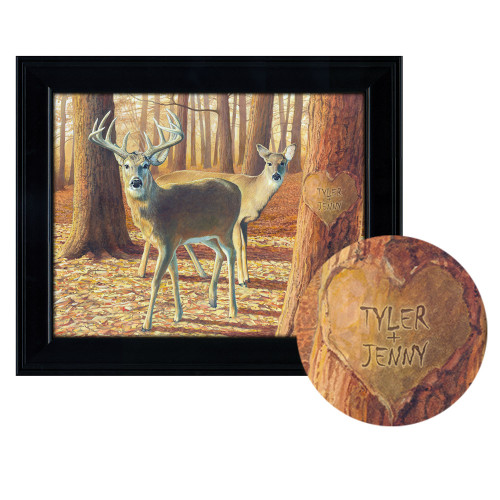 Personalized Whitetail Deer Print - Fall