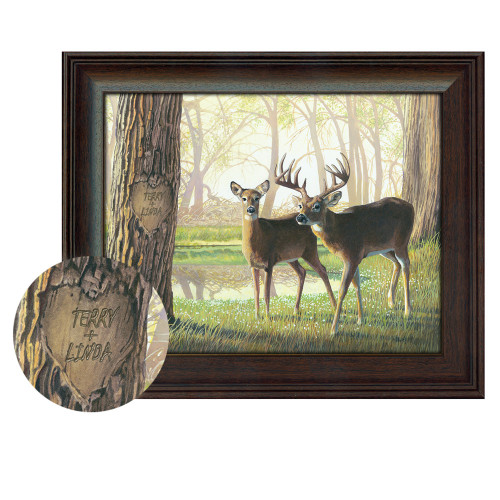 Personalized Whitetail Deer Print - Spring