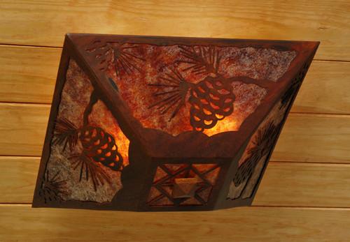 Pine Cone Drop Ceiling Mount Light - Rust