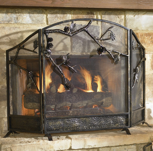 Pinecone Fireplace Screen - BACKORDERED UNTIL 11/23/2021