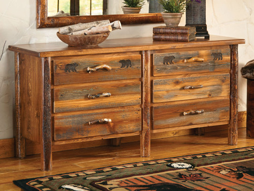 Pine Crest Bear Log 6 Drawer Dresser