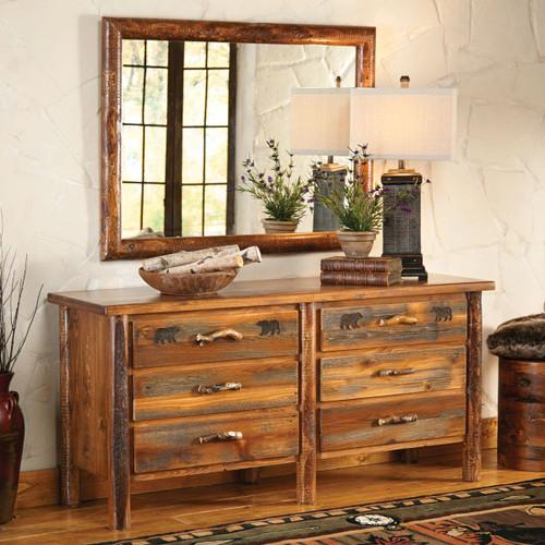 Pine Crest Bear Log 6 Drawer Dresser & Mirror