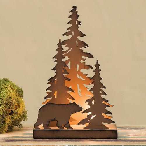 Pine Forest Bear Metal Art Light