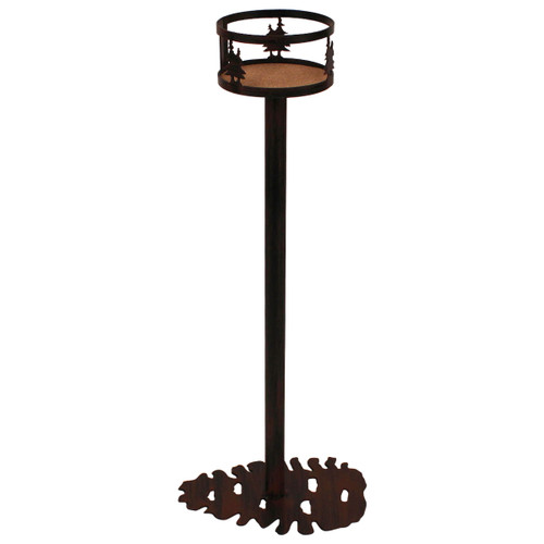 Iron Double Tree Band Drink Holder with Pine Cone Base