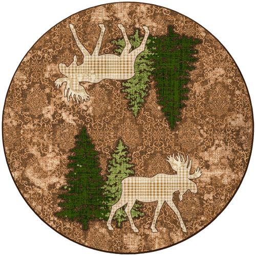 Pine Gulch Moose Rug - 8 Ft. Round