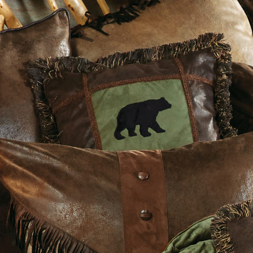 Pine Lodge Bear Square Pillow