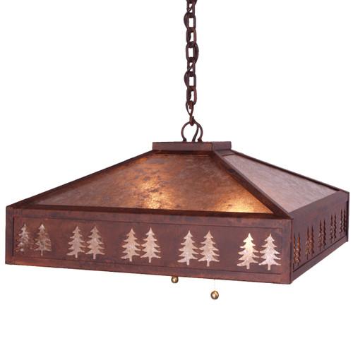 Pine Tree Border Small Swag Light - Rust
