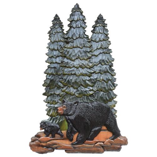 Pine Tree Bears Carved Wood Wall Art - OVERSTOCK